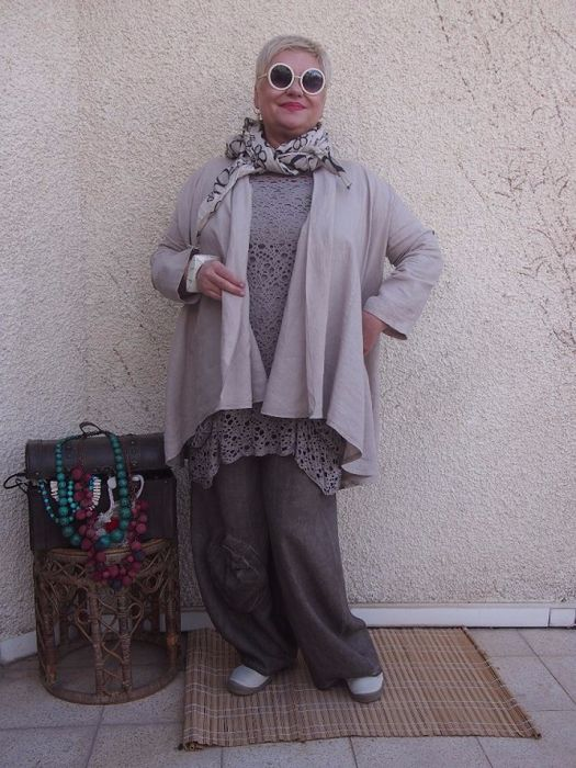 LACE TUNIC, PANTS, JACKET AND SCARF IN NEUTRALS