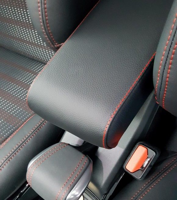 Armrest for Peugeot 2008 in black eco leather with red stitchings