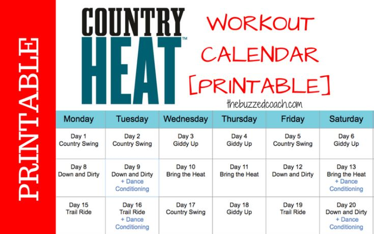 Download and print the Country Heat Workout Calendar template to easily track and plan your workouts! Click on the image to get your template!