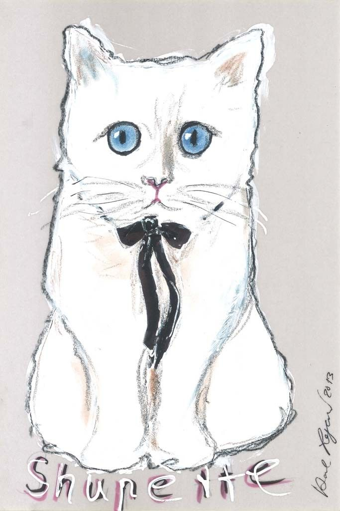 A sketch of Choupette, anointed Shupette for the beauty project, by Karl Lagerfeld. [Courtesy Photo]