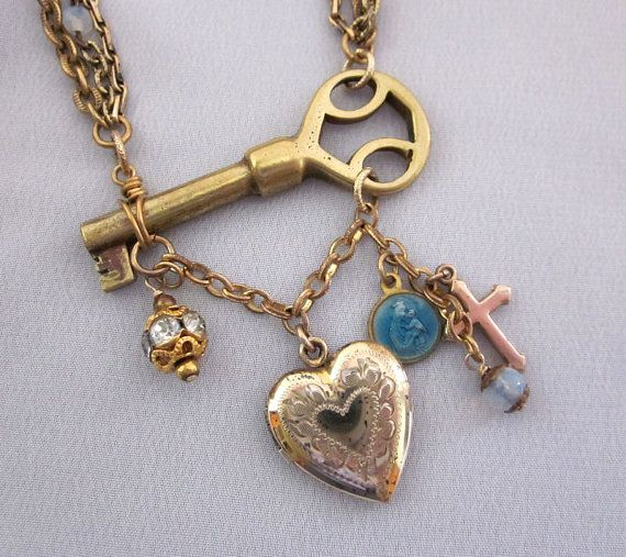 Upcycled Heart Locket Necklace, Repurposed Charm Necklace, Religious Rosary Beads, Gold Filled, Cross, Key, Handmade OOAK Jewelry