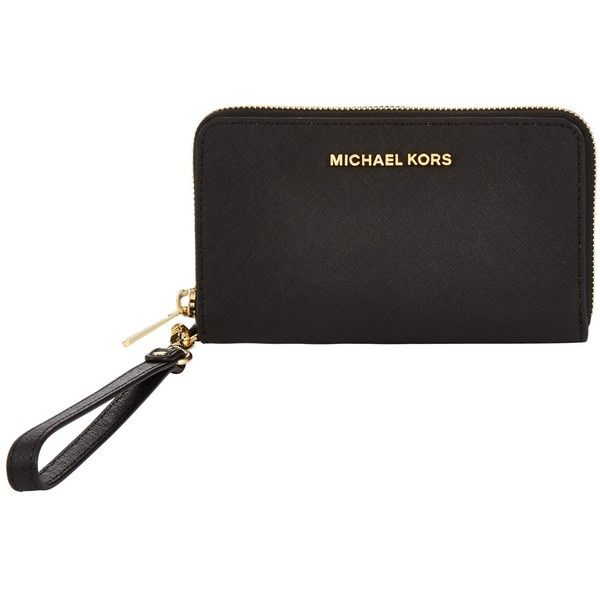MICHAEL Michael Kors Jet Set Leather Travel iPhone 6 Case (€110) ❤ liked on Polyvore featuring accessories, tech accessories, black, michael michael kors wristlet, iphone wristlets, zipper wristlet, michael michael kors and zip wristlet