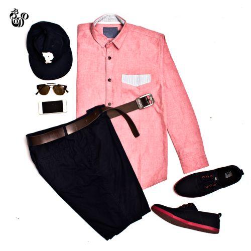 LS Oxford Salmon Shirt + Nitro Canvas Navy Red Sole + Belt Brown