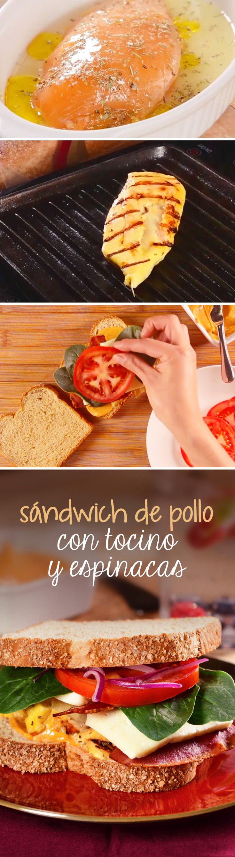 Sándwich fácil para el almuerzo o la hora del lunch. Este emparedado de pollo a la parrilla con Pan Bimbo® es una receta fácil para llevar a donde quieras.