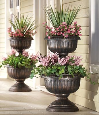2 Tiered Antique Finish Plastic Urn Planter