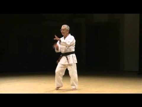 Collection of okinawan karate masters doing kata