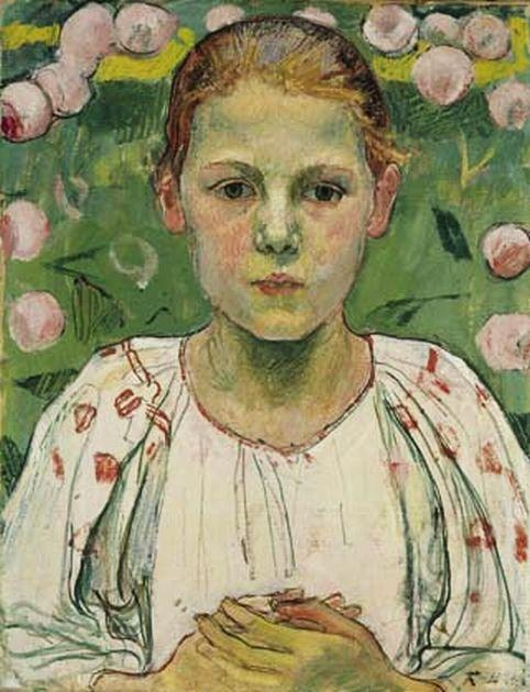 Hodler, Ferdinand (1853 - 1918) Baroness Maria von Bach Date: 1904 Who was she: Emilie Marie Baroness von Bach (1896 – 1978) was an Austrian pianist, violinist, composer and artist. The color green can be symbolic for life, nature, health, youth, renewal, fertility, jealousy, inexperience, envy, vigor and misfortune.