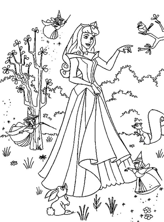 characters walt disney sleeping beauty coloring pages