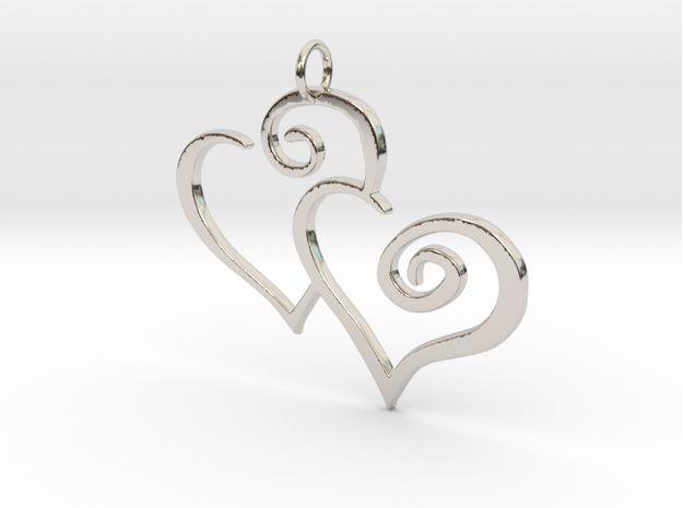 2-Heart #platinum #Charm #Pendant 3d printed