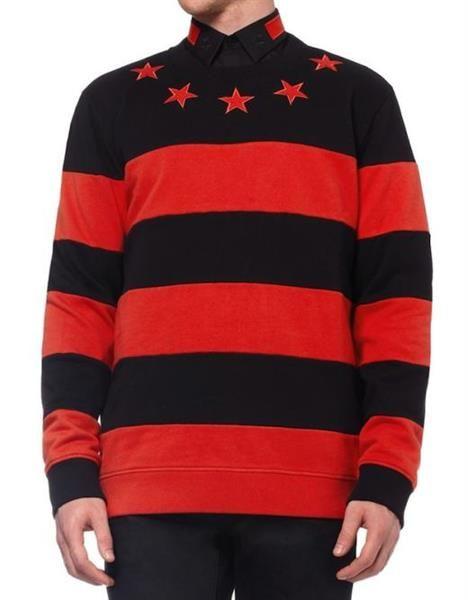 Свитер в чёрно красную полоску