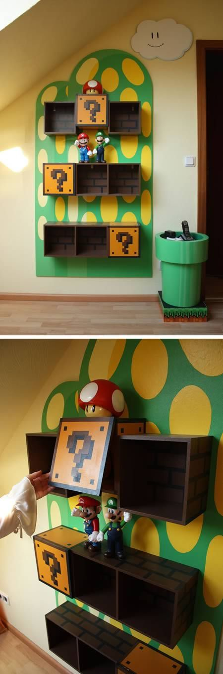 Mario Shelves - some seriously geeky furniture