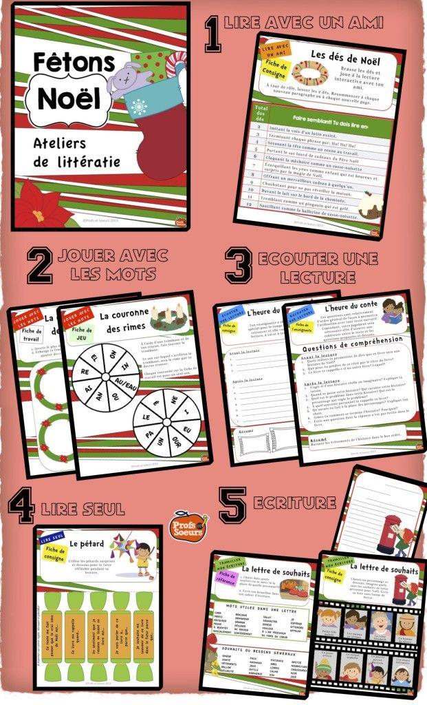 Ateliers de littératie: NOËL / #activités #école #classe #lecture #écriture #french
