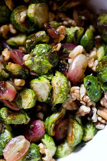 roasted brussels sprouts with grapes and walnuts giving thanks roasted ...