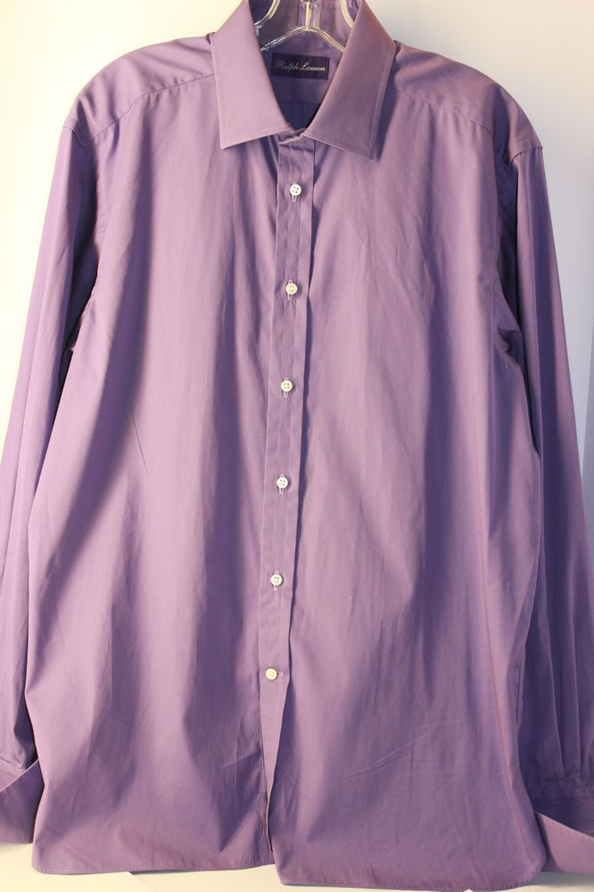 "Ralph Lauren Purple Label Purple Dress Shirt 16.5"" French Cuff  Pearl Buttons  #RalphLauren"