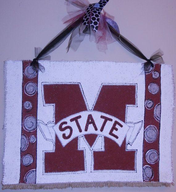 Mississippi State University Door Hanger per ashleyshinton on etsy.com.  #hailstate, #msu, #mississippistate