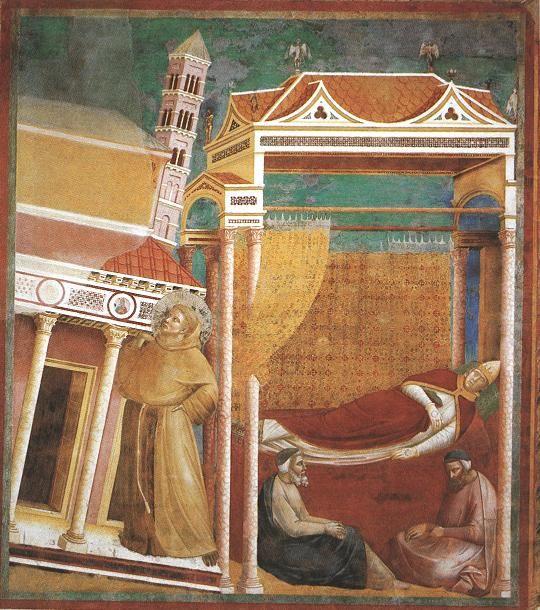 franciscus steunt de kerk in droom paus
