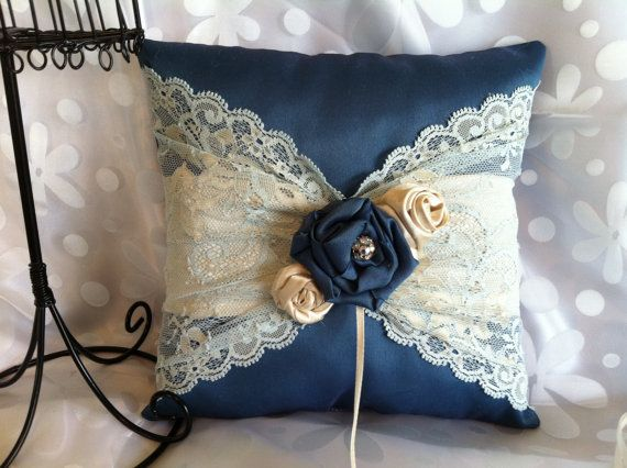 Blue and beige ring bearer pillow by flordelunadesigns on Etsy, $29.00