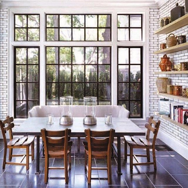 Waterworks Grove Brickworks tile, French bistro-style, in a #SagHarbor kitchen by @dkda (via: @cottagesgardens).
