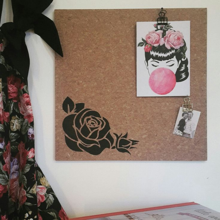 New Rose design pinboard, available in black or pink.