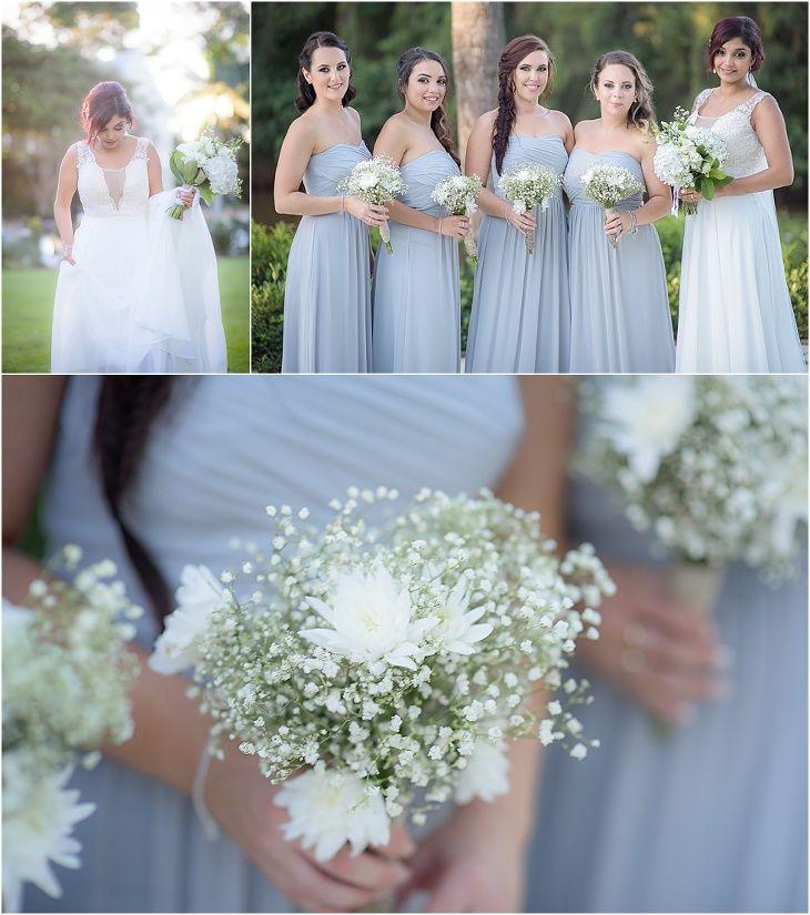Braeside Chapel Wedding #bride #bridesmaids #dovegrey #whitebouquets