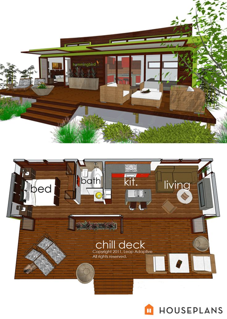 GREEN PLANS —TINY HOUSE floorplans—tiny modern cottage home plan 480sft houseplans.com plan # 484-4 — https://www.pinterest.com/houseplansllc/