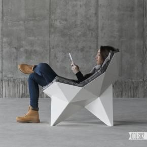Q1 by ODESD2.   A lounge chair based on Richard Buckminster Fuller's spherical thin-shell structure, which is used for creating the geodesic domes.