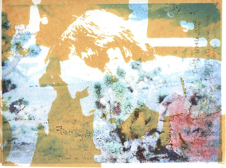 """""""Pearblossom Highway (only a little more time...),"""" 2015. Serigraphy and monotype. 9 x 12"""". Ren Adams. California desert."""