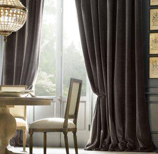 gray velvet curtains
