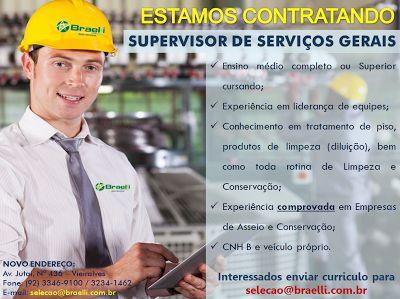 RH Manaus - Agência de Divulgação: Supervisor de Serviços Gerais