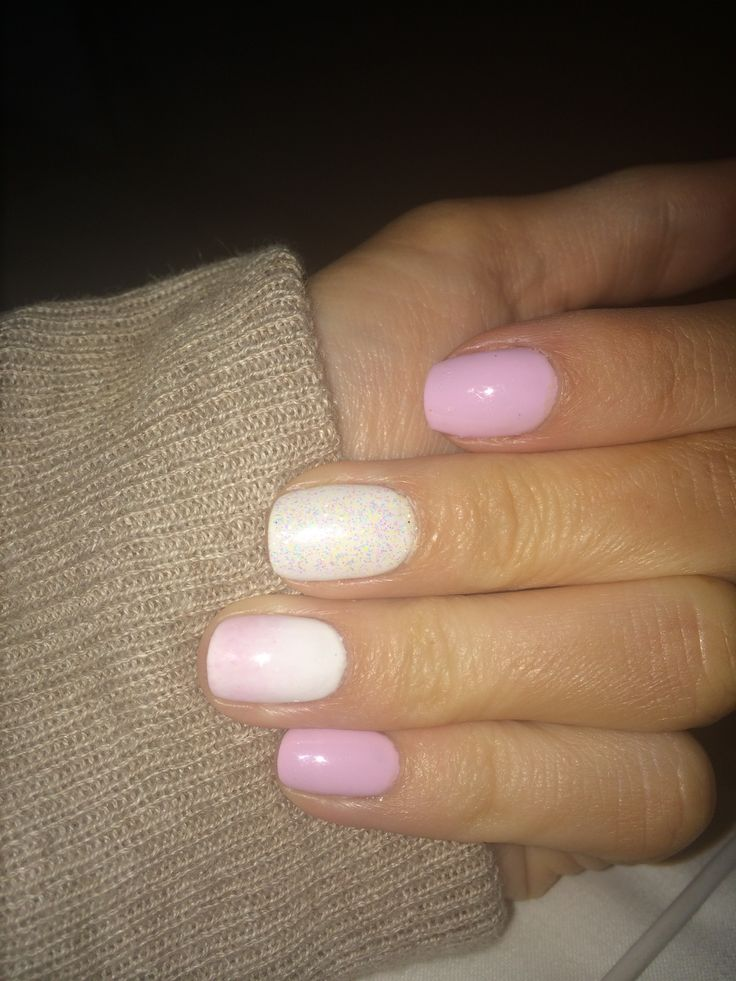 Cake pop pink and white shellac nails with glitter drag and ombré