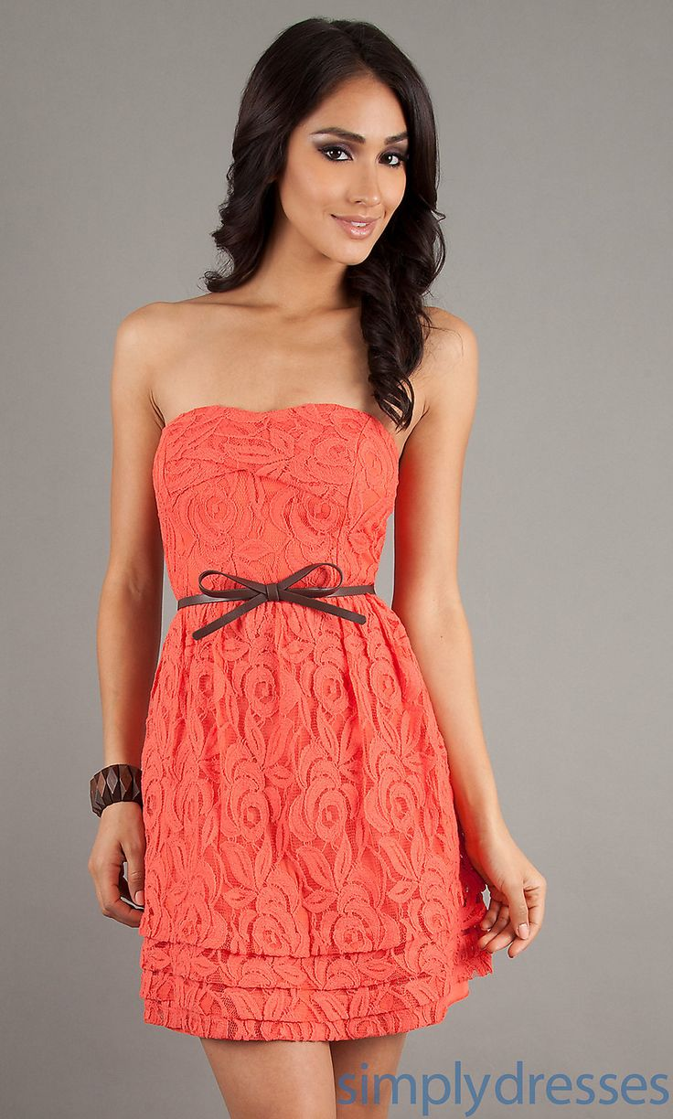 coral casual drees   Dress, Casual Strapless Lace Dress - Simply Dresses
