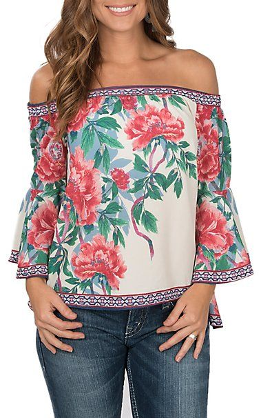 0c0710654f5b9c Flying Tomato Women s Ivory with Red Floral Print Off the Shoulder Long  Bell Sleeve Fashion Top