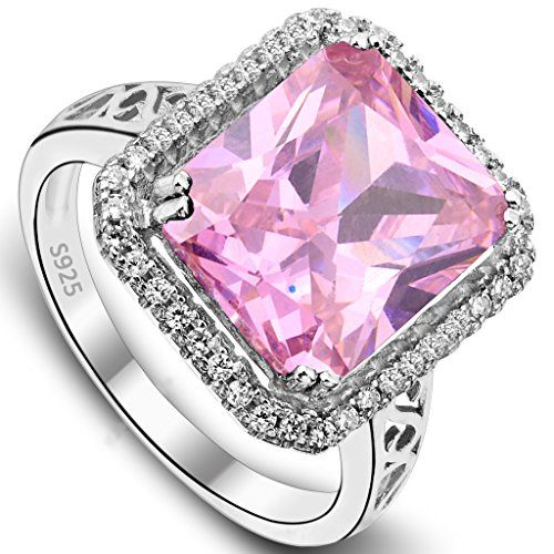 EVER FAITH Women's 925 Sterling Silver 5 Carats Radiant Cut CZ Elegant Ring Pink - Size 8. [!]EVER FAITH is a US registered trademark and Ever Faith Jewelry(former name: Kiss Bling) is its only owner. We will pursue legal action against trademark infringement in case of UNAUTHORIZED sale or resale. We have SGS Professional Certification for our Sterling Silver Items. Customers could go to a professional agency for testing them. 925 Sterling Silver is also suitable for sensitive skin to wear…