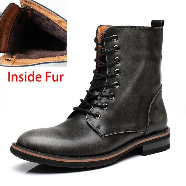 Motorcycle Boots Vintage Combat Winter Fur Cow Split Leather Waterproof Buckle Military Boots Men Shoes