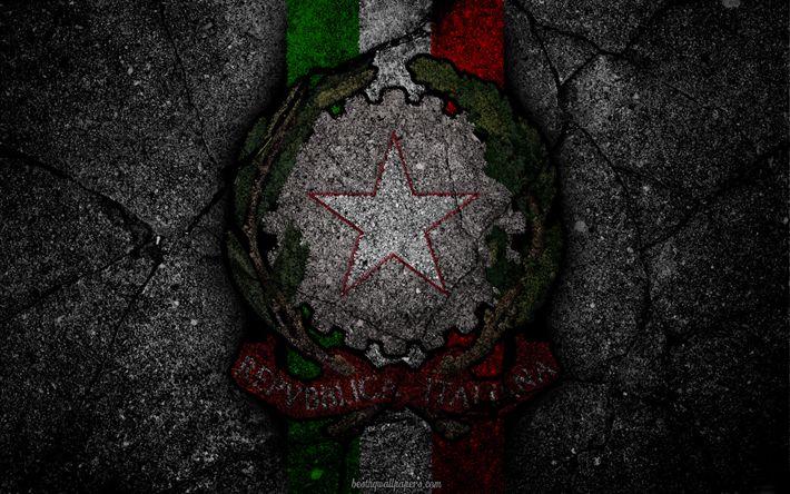 Descargar fondos de pantalla escudo de armas de Italia, italiano escudo de armas, el grunge, el de la bandera de Italia, el arte, la bandera italiana, el simbolismo de Italia