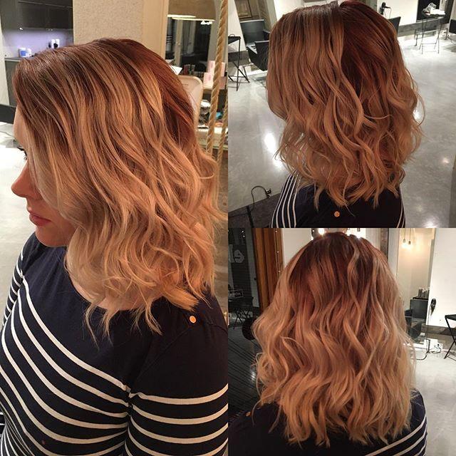Red & blonde  #redombre #reddishhair #liukuväri #hair #balayage #longbob #curls #redblondhair #hairbyelisa #elyciaturku #hairdesignfactory #easyjazzyhip