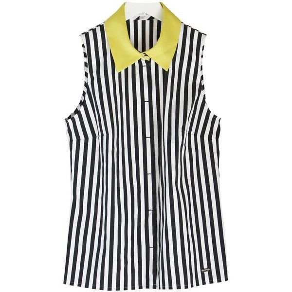Pre-owned Striped Blouse ($210) ❤ liked on Polyvore featuring tops, blouses, stripe top, paule ka, striped top, striped blouse and stripe blouse