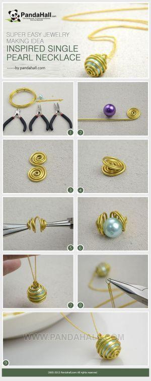 Es un proyecto de fabricación de la joyería-fácil de seguir y fácil de práctica.  Vía utilizando una de las técnicas de envoltura de alambre comunes que terminar el collar de perla enjaulado adorable con unos pocos minutos.  por mmaple