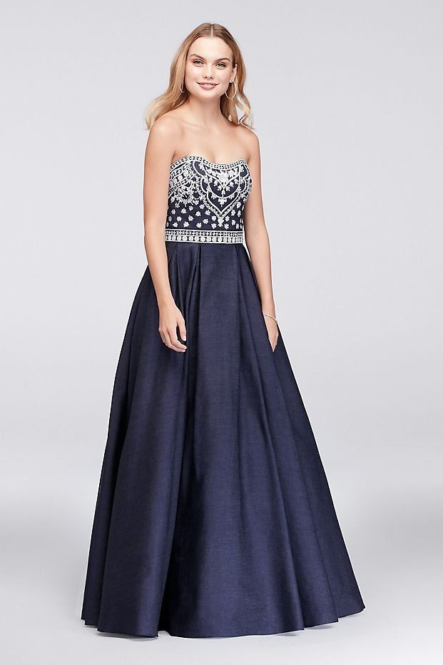 c756d277250a2 Embroidered Denim Ball Gown Prom Dress from David's Bridal | Prom ...