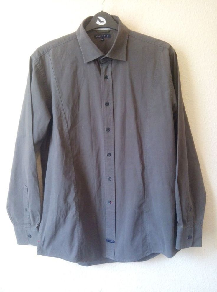 HILFIGER Button Up Corduroy Khaki Military Army Look Shirt Size L Regular BNWOT