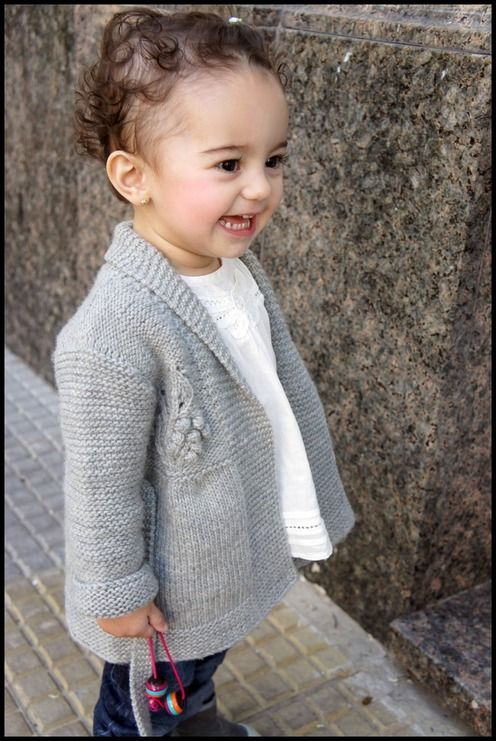 Cute pattern for knitting a girl's sweater jacket. Sized for ages 2 - 10 years (worsted weight)