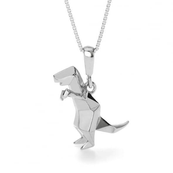 John Greed Origami Safari Dinosaur Rhodium Plated Silver Necklace