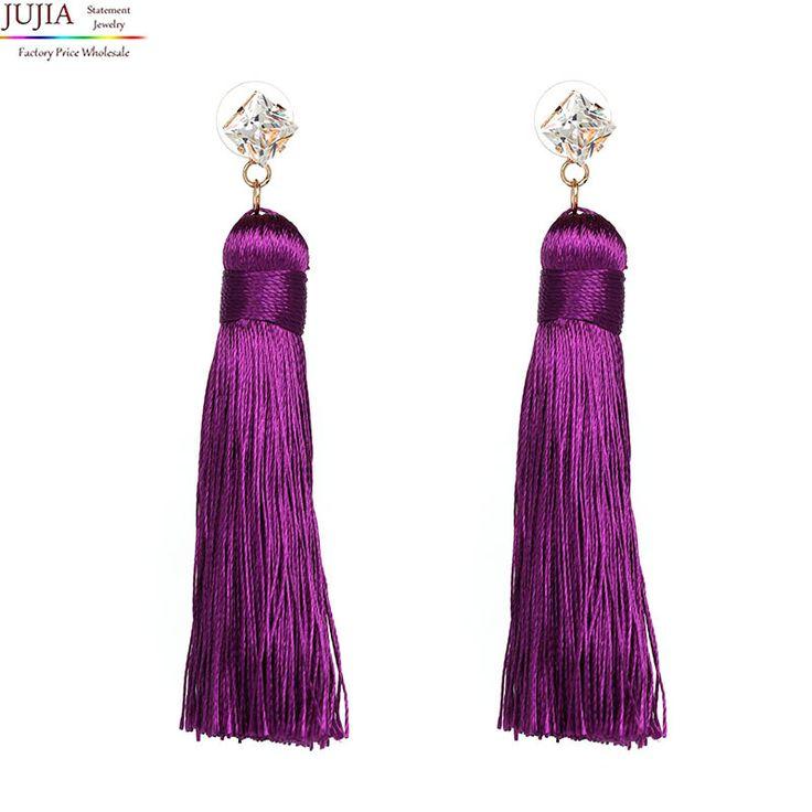 8 colors 2017 long rope tassel good quality Jewelry Hot Selling Elegant long rope tassel crystal Earrings for Women