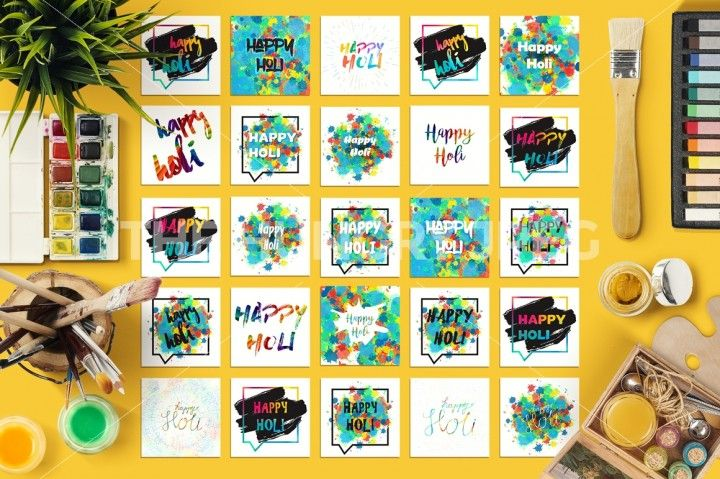 25 Vector Happy Holi Greetings With Colorful Spots And Bright Colors