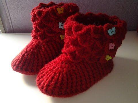 Botas de casa en punto cocodrilo tejidas a crochet... ¡muy divertidas! - YouTube