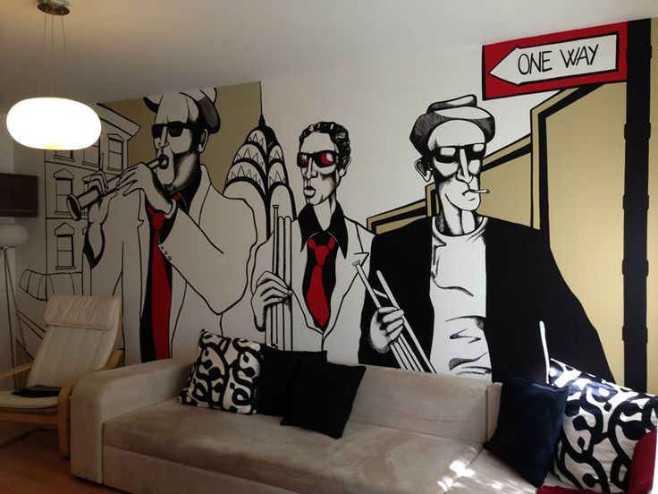 "Living room wall mural decor, New York inspired ""In a State"" Decor living room pictat, inspirat de orasul ""In a State"""