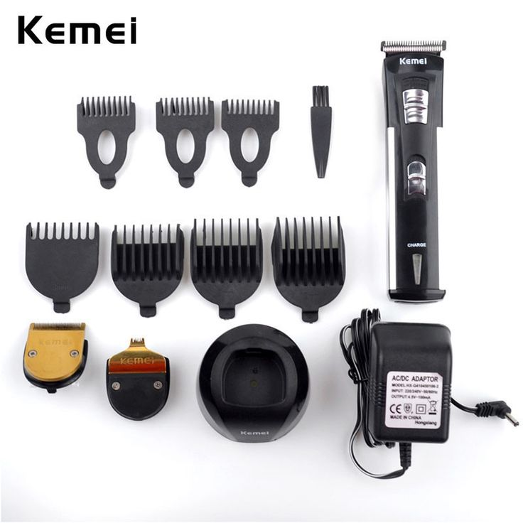 Kemei 3 in 1 Professional Hair Shearing Clipper 4-Mode Adjustable Rechargeable Hair Scissors 3 Trim Head Cutters 7 Hair Combs