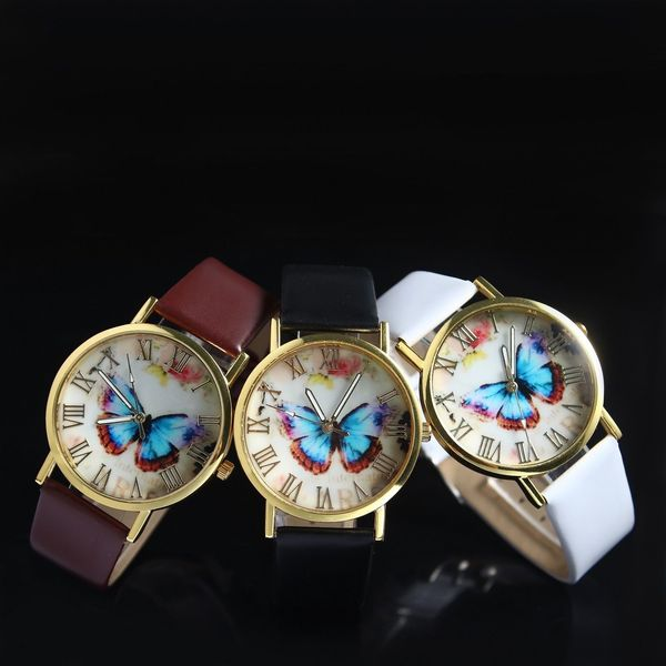 Butterfly Roman Leather with Quartz Watch
