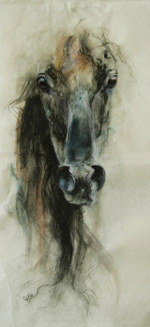 Horse black chalk drawing peinture la craie noire d 39 un - Peinture noire tableau craie ...