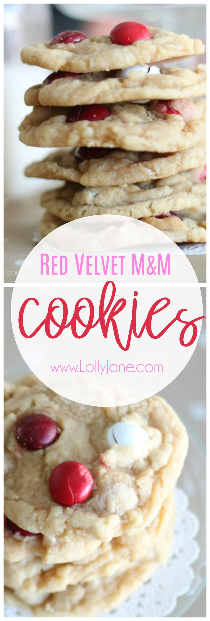 Such a yummy Red Velvet M&M cookie recipe. So easy to make! Love this simple Valentine's Day cookie recipe, super kid friendly cookies!